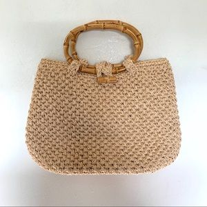 Chico's Woven Straw Purse With Bamboo Handles